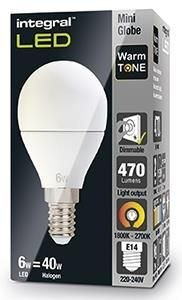 Integral led kogel E14 6Watt 230V 1800-2700K Warm Tone
