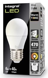 Integral led kogel E27 6Watt 230V 1800-2700K Warm Tone