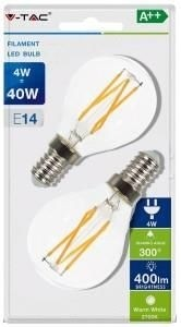 V-tac led kogel filament E14 4Watt helder warm wit 2stuks